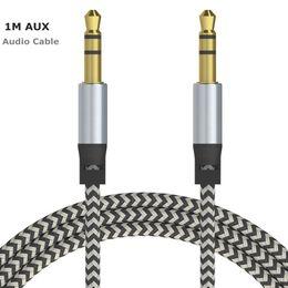 стерео провода Скидка Аудио автомобиля AUX удлинительный кабель нейлон плетеный 3 фута 1 м проводной вспомогательный стерео разъем 3,5 мм мужской свинец для Apple и Andrio мобильный телефон спикер