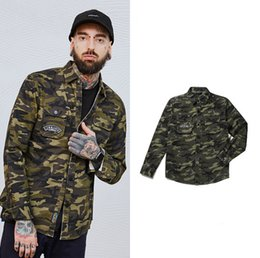 Wholesale army style jackets - New Style Camouflage Long Sleeve Jacket Casual Shirt Embroidered Shirt Fashion Brand Coat For Men