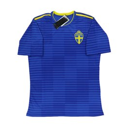 Wholesale Thailand Wholesale Jerseys - Free Shipping ThaiLand Quality 2018 World Cup Jerseys Sweden Home Yellow and Away Blue Cheap Soccer Jersey Shirts Accept Customized5
