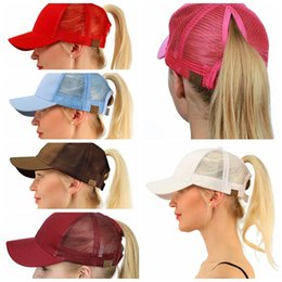 Wholesale pony fashion - CC Ponytail Cap Messy Bun Women Ponytail Caps Cap Fashion Girl Basketball Hats Back Hole Pony Tail KKA4383