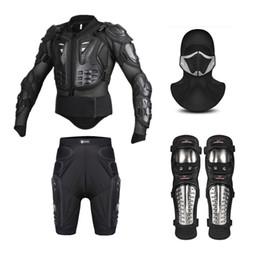jackenmaske Rabatt Motorrad Jacke Männer Full Body Motorrad Rüstung Motocross Ski Racing Schutzausrüstung + Schutz Shorts + Gesichtsmaske + Knieschützer