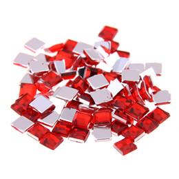 contenitore glitter all'ingrosso Sconti colore acrilico rosso Strass FlatBack Piazza molti formati per l'artigianato di Scrapbooking DIY Clothes decorazione di arte chiodo
