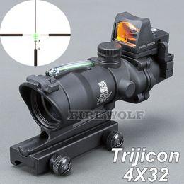 Wholesale Acog Scope Fiber - Trijicon ACOG New 4x32 Riflescope Red Green Optical Fiber Rifle scope Red Dot scope Free shipping
