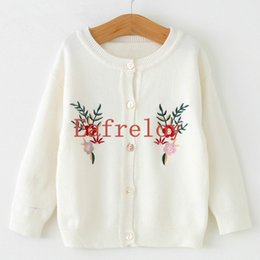 Wholesale Wholesale Silk Flower Prices - Ship by DHL Factory Price Wholesale 200pcs lot Children Girls Sweaters Autumn&Winter Long Sleeve Open Stitch Flowers Embroidery