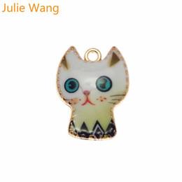 Julie Wang 5 PCS Alliage D'or Base Colorée Émail Mignon Chat Charmes Pour Neckalce Pendentif DIY Bijoux Making Accessoire ? partir de fabricateur