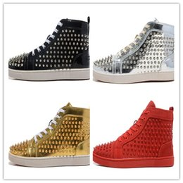 Wholesale spike heel sneakers - 2017 luxury brand new Red Bottoms fashion mens patchwork with spikes red bottom casual shoes womens high top gentleman sneakers size 36-47