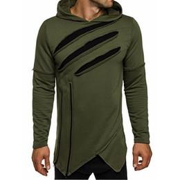 Sudadera para hombre Otoño asimétrico Hip-hop Sudaderas con capucha Agujeros rasgados Prendas de abrigo Tops Ejército Verde Negro Gris más el tamaño 2B0359 desde fabricantes