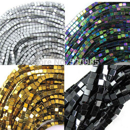 "stone coats Promo Codes - Wholesale Black Gold Silver Rainbow 98pcs lot coated natural stone hematite cube square loose spacer beads 16"" per strand 4mm"