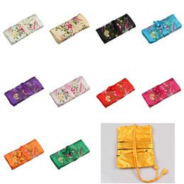 jewelry rolls Promo Codes - Chinese FOLK Floral 3 Zipper Silk Multifunctional Jewelry Gift bags Pouches Bag Ring Bar Silk Embroidery Travel Roll Bag