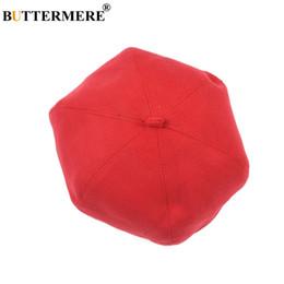 Berretto in lana francese BUTTERMERE per donna Cappellino piatto solido  rosso Signore Pittore casual britannico Cappello Autunno Inverno Cap  artista moda 0e4c4fe0345b