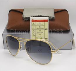 Wholesale light brown frame glasses - 1pcs Excellent Quality Man Woman Gradient Metal Sunglasses Eyewear Designer Sun Glasses Gold Frame Light Gray Lens 58mm 62mm Glass UV Lenses