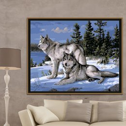 Wholesale picture painting ideas - igh Quality ideas pictures Abstract DIY Frameless Pictures By Numbers Digital Canvas Oil Painting Of Wolf Home Decoration Wall Art 40*3...