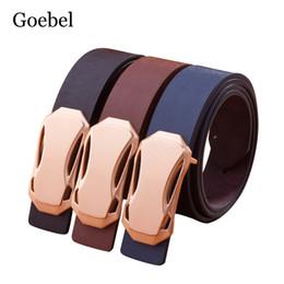 Wholesale Wholesale Designer Mens Belts - Goebel Brown Belt Men Pure Color PU Leather Luxury Mens Belts Individuality Smooth Buckle Men's Designer Belt