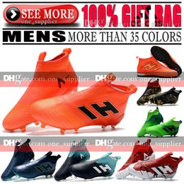 Wholesale Soccer Shoes Genuine - New Original High Tops Soccer Boots Leather ACE 17 Purecontrol FG Football Shoes Mens Indoor TF IC ACE Pure Control 17 Tango Soccer Cleats