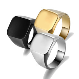Wholesale Signet Silver - Fashion Rings Square Big Width Signet Rings 24K Titanium Steel man Finger Silver Black Gold Men Ring Jewelry anel New