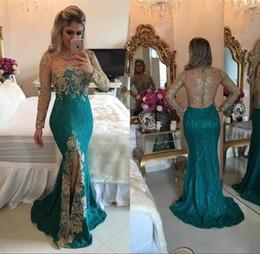 Wholesale Rhinestone Prom Gowns Evening - 2018 Vestidos Vintage Dark Green Split Prom Dresses Mermaid Long Sleeve Sparkly Rhinestones Beaded Lace Illusion Back Evening Gowns