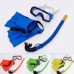 2019 tauchmaskengläser Tauchmasken 3 Teile / sätze Kinder-Taucherbrille, Fußknöchel mit Fuß, Atemschläuche, Breitschirm-Schwimmbrille, offene Sicht rabatt tauchmaskengläser