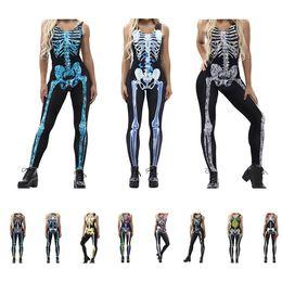 mulheres vestido colonial Desconto Sexy Halloween Carnaval Esqueleto Esqueleto Impressão Sem Mangas Estiramento Macacão Zumbi Performance de Palco Roupas Adulto Mulheres