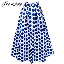 Wholesale Maxi Skirt Dotted - 2017 Feeshow New Women Chiffon Maxi Polka Dot Skirts Pleated Midi Long Skirts Summer Fashion Women Empire Long Maxi