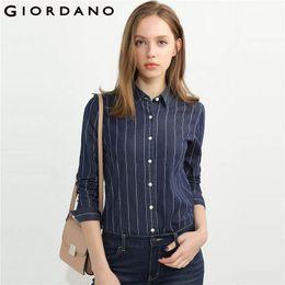 Wholesale Women Button Front Shirt - Giordano Women Denim Blouse Long Sleeves Denim Shirts Stretchy Turn Down Collar Button front Women Tops Blusas
