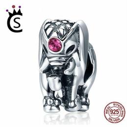 Tailandia encantos de plata online-Nueva Llegada Genuino 100% Plata de Ley 925 Tailandia Lucky Elephant Charms fit Mujeres Pulseras Joyería Fina