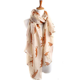 Wholesale woman cute winter scarfs - Vestido Winter Scarf Casual Ladies Tops Women Long Cute Fox Scarf Luxury Brand Wraps Soft Shawls and scarves Summer Beach
