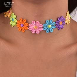 Wholesale Cotton Choker Necklaces - whole saleNew fashion jewelry cotton lace flower choker necklace mix color gift for women girl N1814