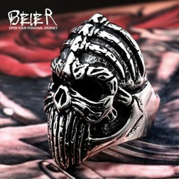 Wholesale Skull Wings Rings - whole saleBeier new store 316L Stainless Steel ring Winged Skull Cool Punk Ring Biker Vintage For Man wholesale jewelry LLBR8-412R