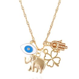 Wholesale White Resin Elephants - Gold-Tone Statement Necklace With Fatima Hand Elephant Clover Charm Pendant Short Choker Necklaces Boho Jewelry Gift For Women