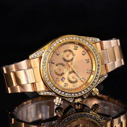 Wholesale Womens Gold Diamond Bracelet - 2017 Luxury GENEVA Watches Womens Diamonds Watches Bracelet Ladies Designer Wristwatches 3 Colors Free Shipping 0362