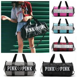 Wholesale Blue Beach Bags - Pink Girl Travel Duffel Bag Letter Printed Women Travel Business Handbags Outdoor Sports Beach Large Shoulder Bag OOA4227