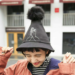 3975835df22 2018 new cartoon embroidered Pompon bucket hat woman pointy Witch hat black  fashion spring summer autumn steeple magic Fedoras