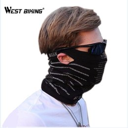 Wholesale Hanging Mask - WEST BIKING Hanging Ears Bicycle Face Mask Multifunction Scarf Windproof Face Mask Portable Scarf Headgear Cycling Cap Masks