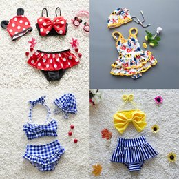 Wholesale lace layer dress - 7 Design Baby Girls Swimsuits Two-piece One-piece Cap Dots Bow Plaid Striped Cartoon Watermelon Strawberry Two Layers Cake Lace Dress Bikini