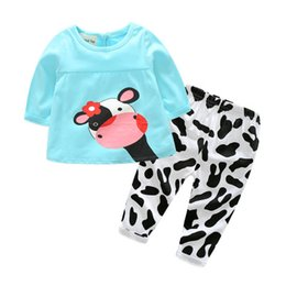 Wholesale Cow Neck Shirt - Baby Girl Clothes Casual Long-Sleeved T-shirt+Pants Suit Tracksuit The Cow Suit Of The Girls High Quality 2018 Winter Hot Sale