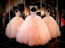 Abito di promenade pura strass online-2019 Nuovi cristalli strass Blush Pink Quinceanera Abiti Sheer Jewel Sweet 16 Pageant Dress Ruffles Skirt Princess Prom Ball Gowns