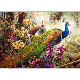 Wholesale Family Oil Paintings - Peacock DIY Painting By Numbers Animal Acrylic Paint on Canvas Family Hand-Painted Figure Paintings Wall Artwork