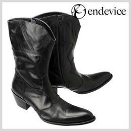 Wholesale Vintage Pointed Toe High Heels - Black Fashion vintage man boots pointed toe fashion male knee high boots increased high heels horsehair genuine leather Boots Men