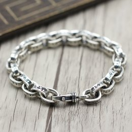 thai silver bracelets Coupons - Retro Chains Men's Bracelets 925 Sterling Silver Bracelet Thai Silver Jewelry Rough Punk Style Personality Simple Female