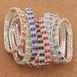 Wholesale Wholesale Crystal Stone Bracelet - 20pcs lot Colorful Tennis Crystal Rhinestone Bracelets Spring Silver Plated 2-Rows Tennis 10Colors Hot sell BB74 80 Stones