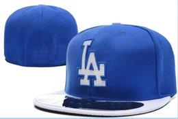 Wholesale la dodgers - National Team Dodgers Fitted LA hats Baseball Embroidered Team Letter Flat Brim Hats Baseball Size Caps Sports Chapeu for men women