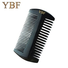 Wholesale natural horn hair comb - YBF Black Buffalo Horn Combs Natural Thickness Width and Intensive Tooth Tibet Heathy Antistatic Lovely Boutique Hair Brushes