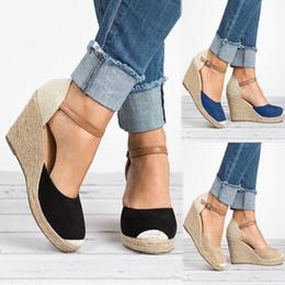 del Correa Verano Zapatos verano Casual Mujer cuña de Cuña Hebilla Alpargatas negros la zapatos 2019 qAwUXX