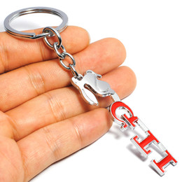 Wholesale Volkswagen Key Fobs - Auto Keyring 3D GTI VW Car Key Ring Chrome Finish Key Chain Fob Ring for Volkswagen Golf 4 5 6 7 Metal GTI Car Styling Keychain