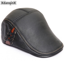 XdanqinX 2018 New Style Autumn Winter Men s Beret Genuine Leather Hat  Fashion Cowhide Warm Tongue Caps For Men Brands Flat Cap c5b7acf26cda