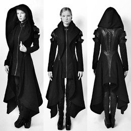 Wholesale Black Gothic Clothing - Cosplay Coat Irregular Hooded Leather Patchwork Tops Cosplay Avant Long Coat Gothic Ninja Hero Clothing Warm Sexy Black Cape Coat Sweater