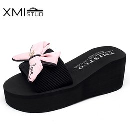 Wholesale Blue Wedge Booties - XMISTUO Summer Women's Wedges Sandals Slippers with Bow Slides Outside 7.2cm High Heels Beach Female Slippers 4 Color 7140W