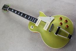 Fabrik Custom Hot Sale E-gitarre mit Metall gelb Körper und Mahagoni Hals, Palisander Griffbrett und kann angepasst werden von Fabrikanten