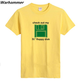 Wholesale Disk T - The BIG BANG Sheldon T-shirt Men Cooper Check out my 3 and 1 2 floppy disk Geek Logo Men T shirt Big Yard Casual Fit EU.USA Style Cotton Tee