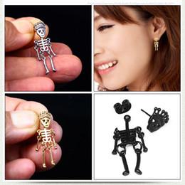Acciaio ciondolo testa cranio online-Orecchini di osso anti allergico 10 * 31 mm in acciaio al titanio moda orecchini scheletro in acciaio inossidabile con testa di cranio maschile orecchini pendenti